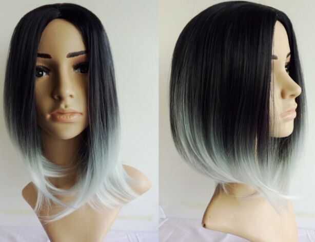 New Short Bob Ombre Grey Synthetic Wig Glueless Long