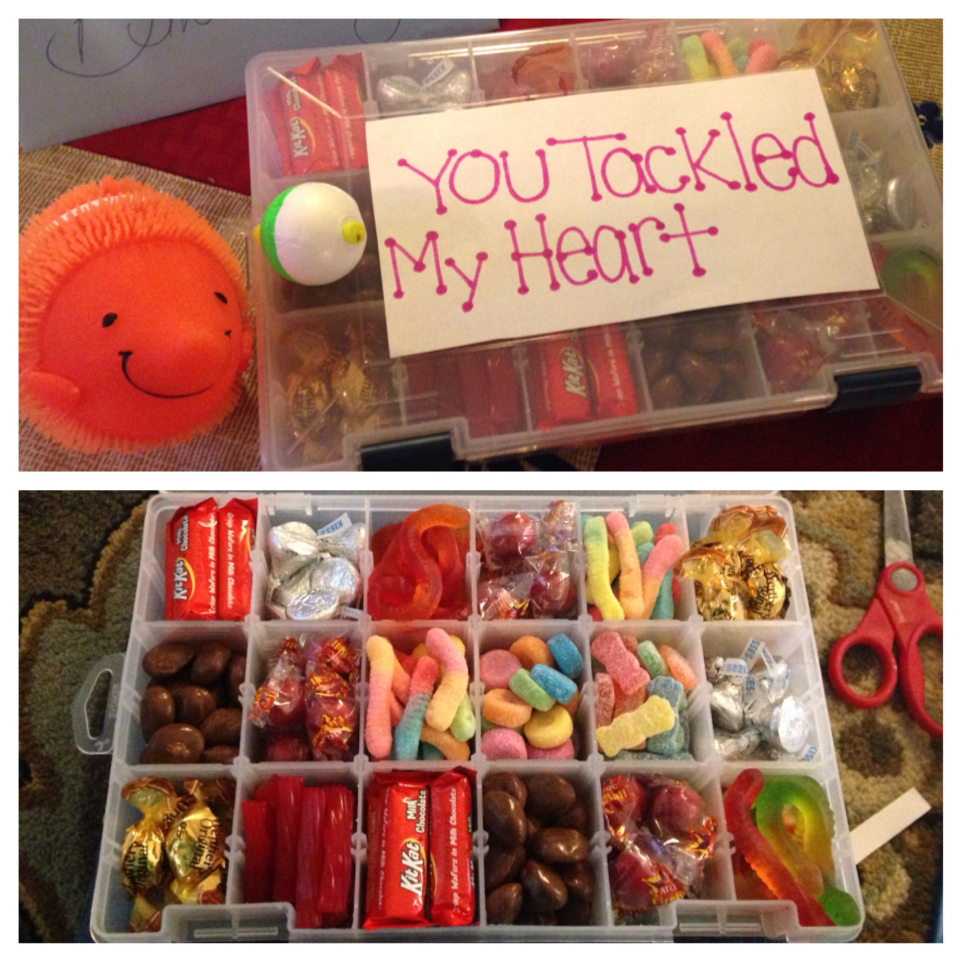 A tackle box with candy country boyfriend gifts