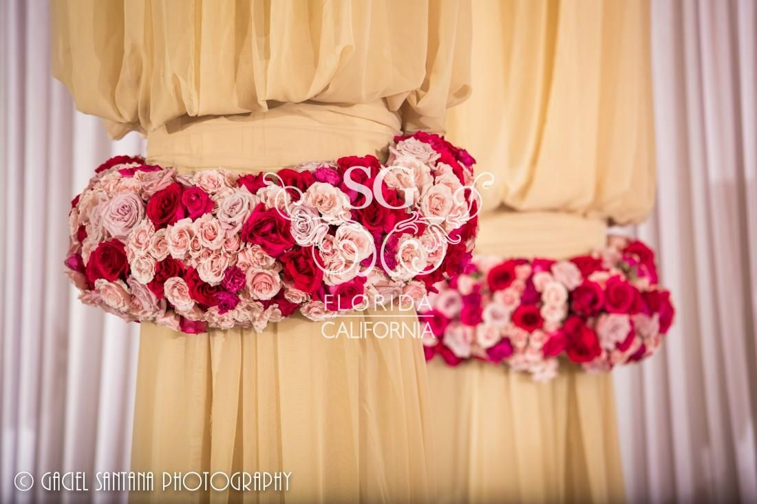 Suhaag Garden Indian Wedding, Red & Pink Flowers, Reception ...