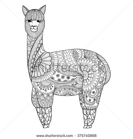 Alpaca zentangle design for coloring book for adult logo t shirt
