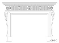 Colonial Fireplace Mantel - Claw Foot with Winged Scrolls 15706