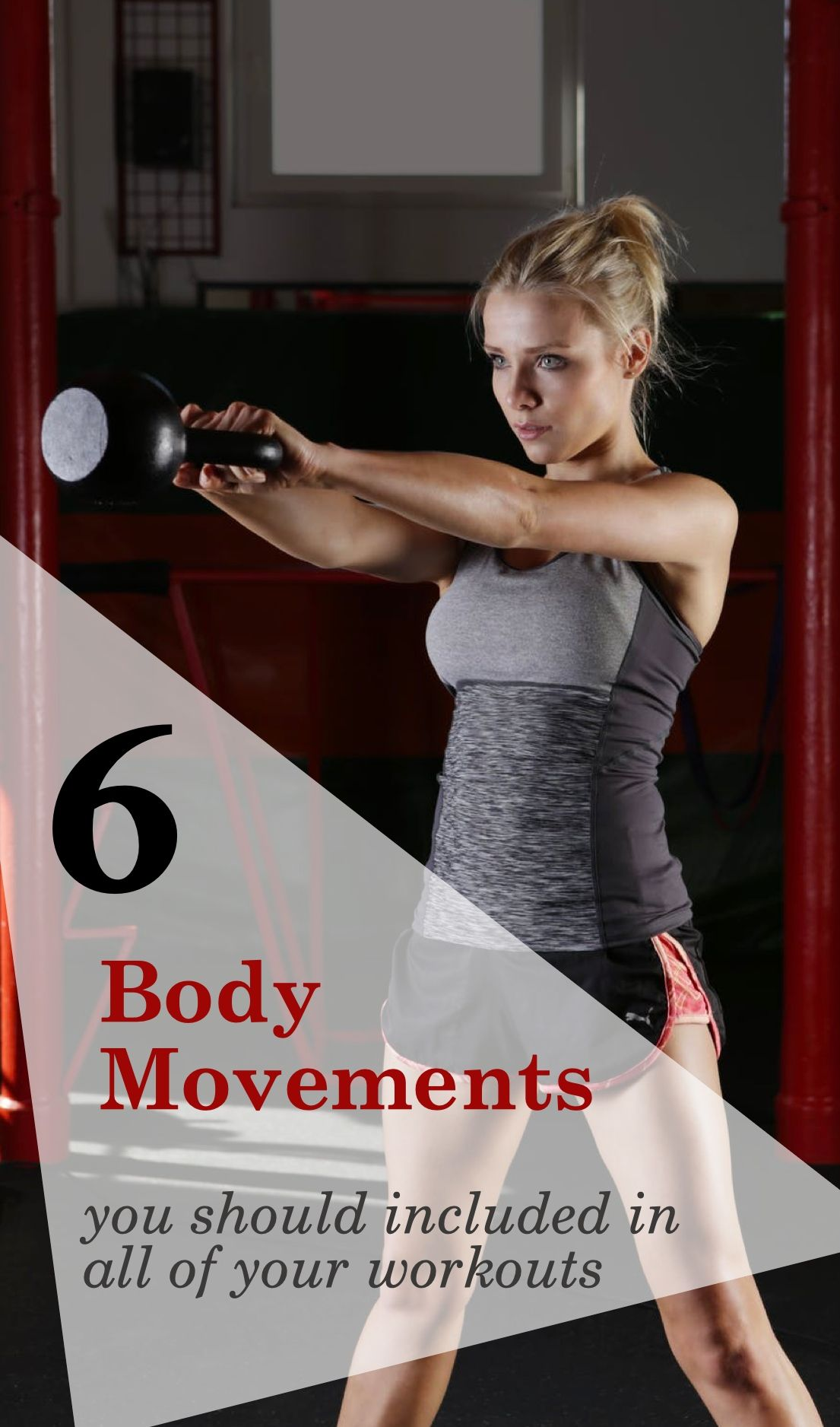 A well rounded, full-body fitness routine or program should incorporate six basic movements. Some form of a squat, hinge, vertical press, vertical pull, horizontal press, horizontal pull. #fitness #exercise #gym #workout #activelifestyle #stayingactive