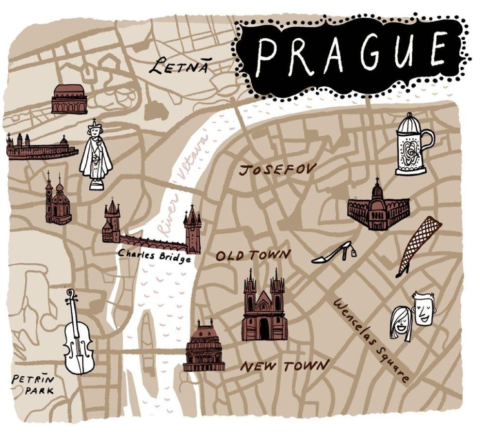 Pin By Hilary Cherskov On Prague Prague Travel Illustrated Map Prague