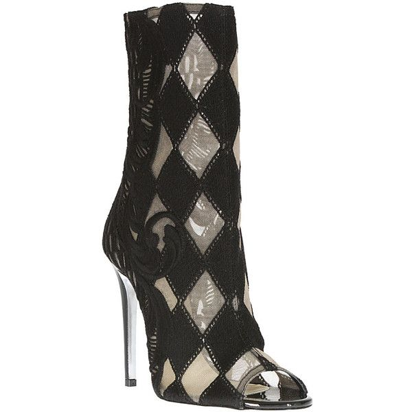 Balmain black guipure lace open toe boots ($1,555) ❤ liked on Polyvore