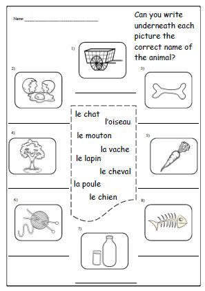 ANIMALS FRENCH PRINTABLE / Language Worksheet / School Worksheet ...