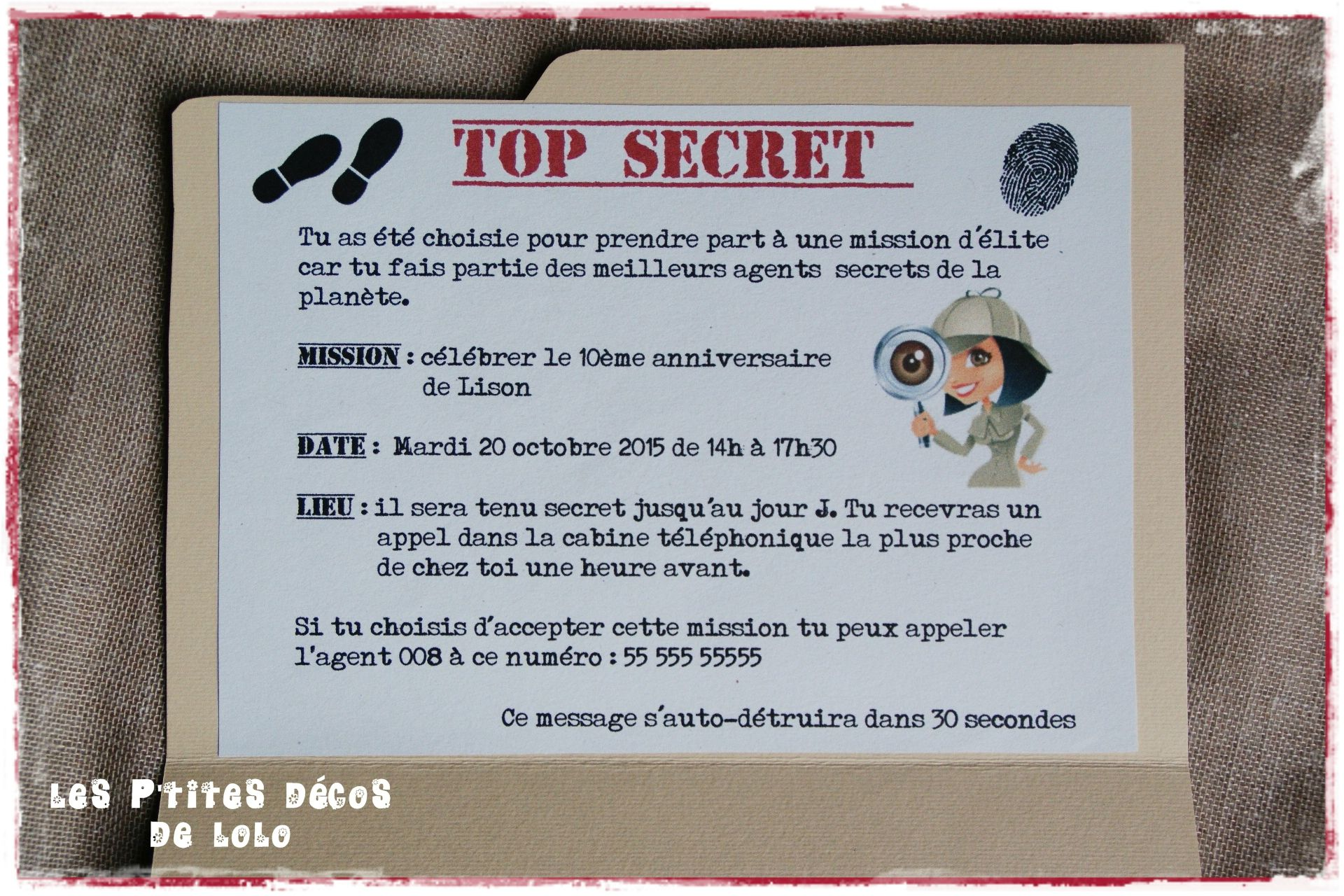Super invitation anniversaire agent secret | Anniv Norah | Pinterest  GH77