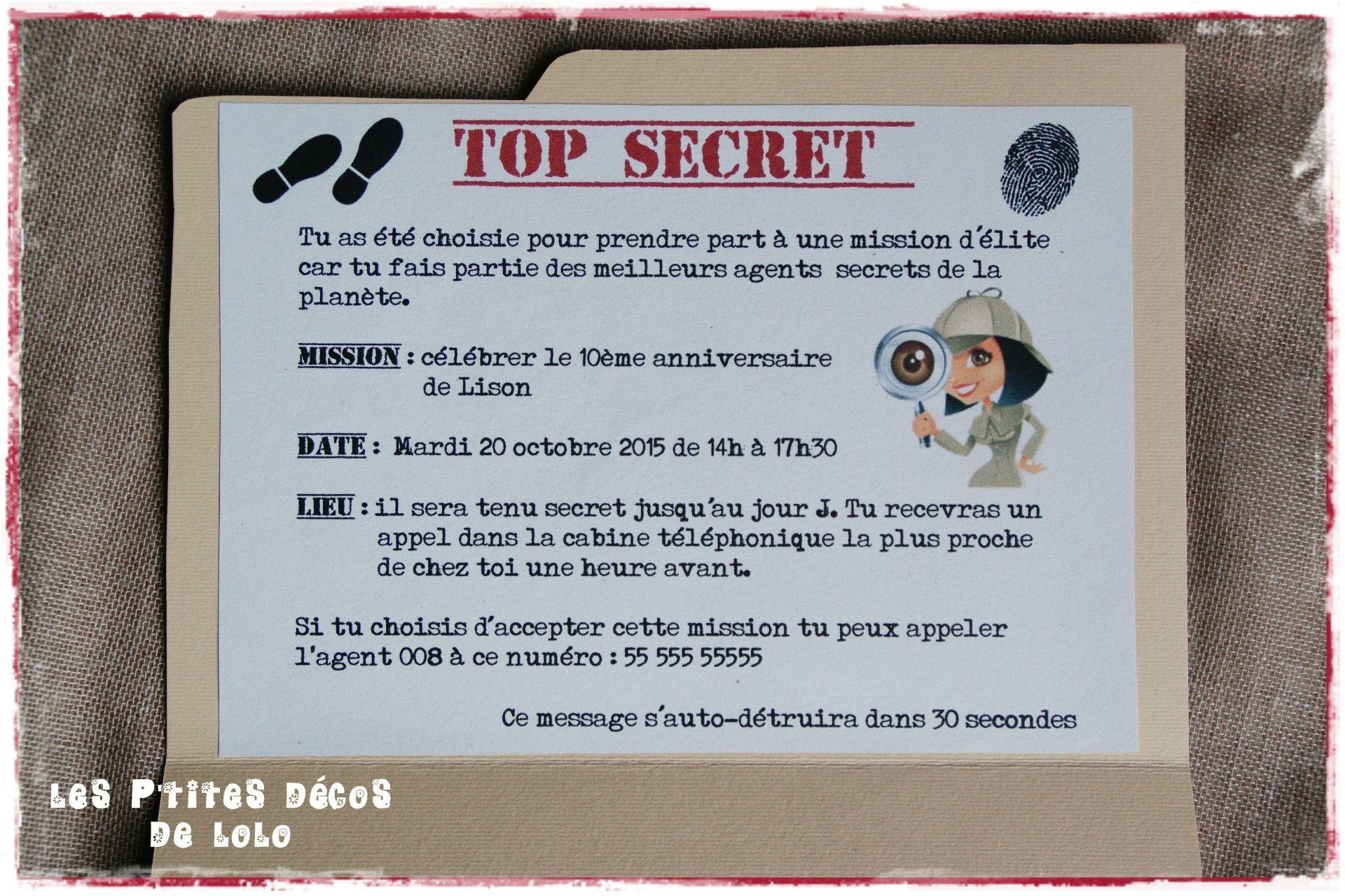 Preparer Un Anniversaire Theme Agents Secrets Pour Meuf Blasee Les P Tites Decos De Lolo Carte Invitation Anniversaire Invitation Anniversaire Texte Invitation Anniversaire
