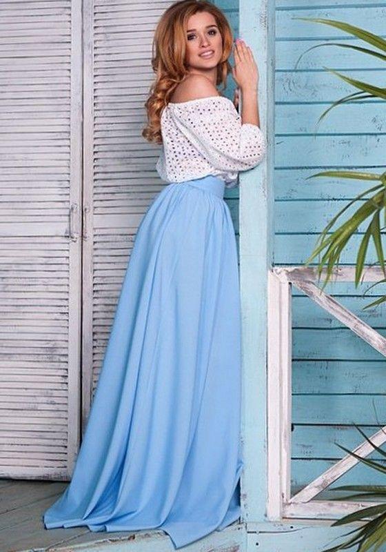 Light Blue Pleated Floor Length Flowy Satin Maxi Skirt | Satin ...