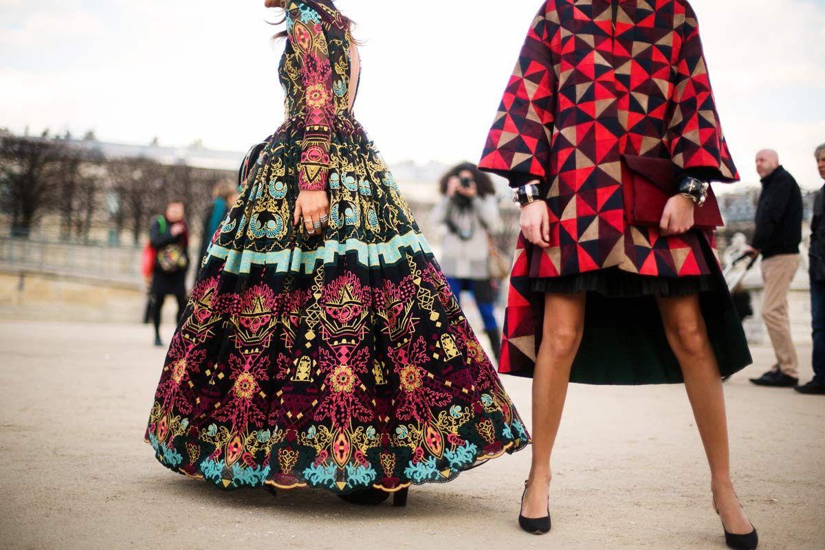 Graphic prints, courtesy of Anna Dello Russo and Giovanna Battaglia, at Paris Fashion Week Fall 2014.