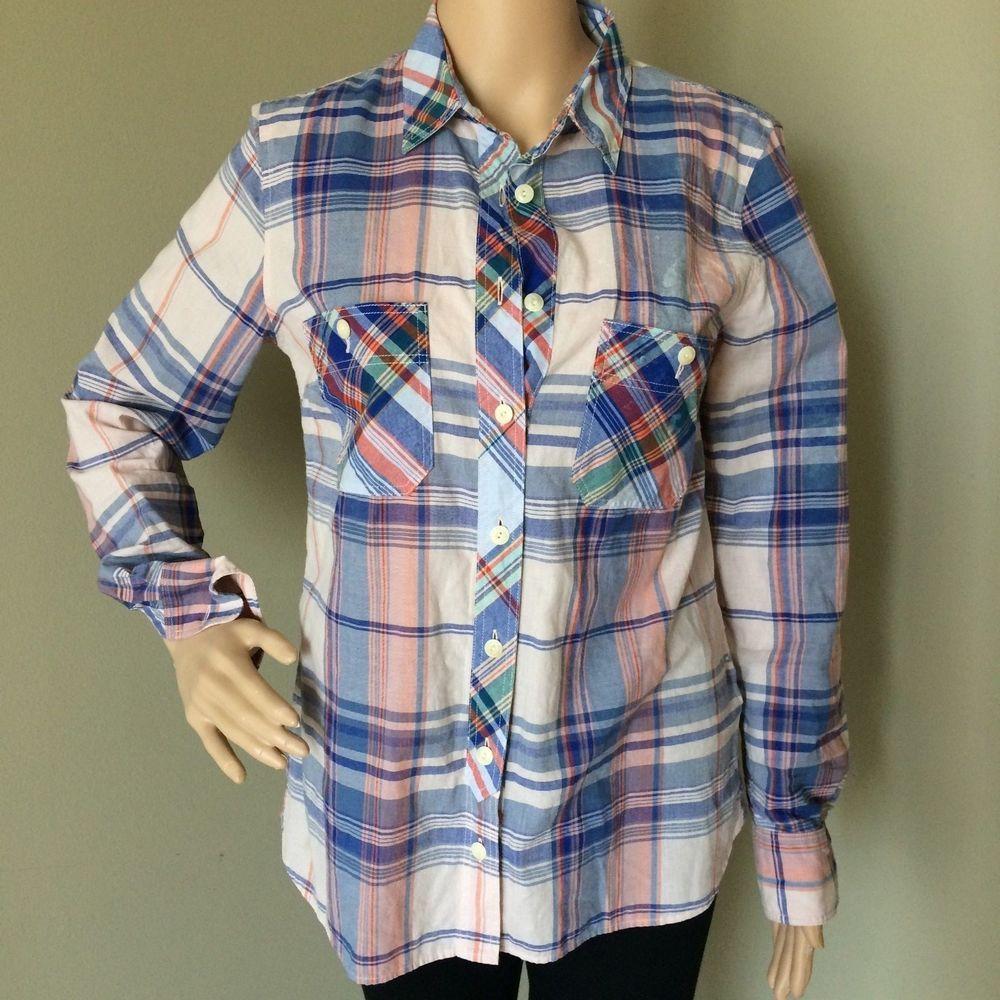 J. CREW Women s Work Shirt Pink Plaid Button Down Cotton Long Sleeve Style  A0726  JCREW  Boyfriend 05470e278b