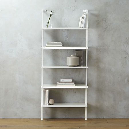 Stairway White Wall Mounted Bookshelf Cb2 Both A 96 And 72 Version The Later Would Work Under Bulkhead