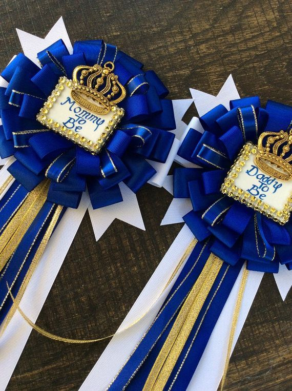 Royal Blue Set Little Prince Baby Shower Mommy To Be Pin And Daddy To Be  Pin Royal Blue Baby Shower  Royal Prince Baby Shower  Blue And Gold