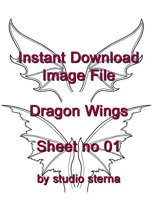 Dragon wings no 01 design sheet download printable black white ...