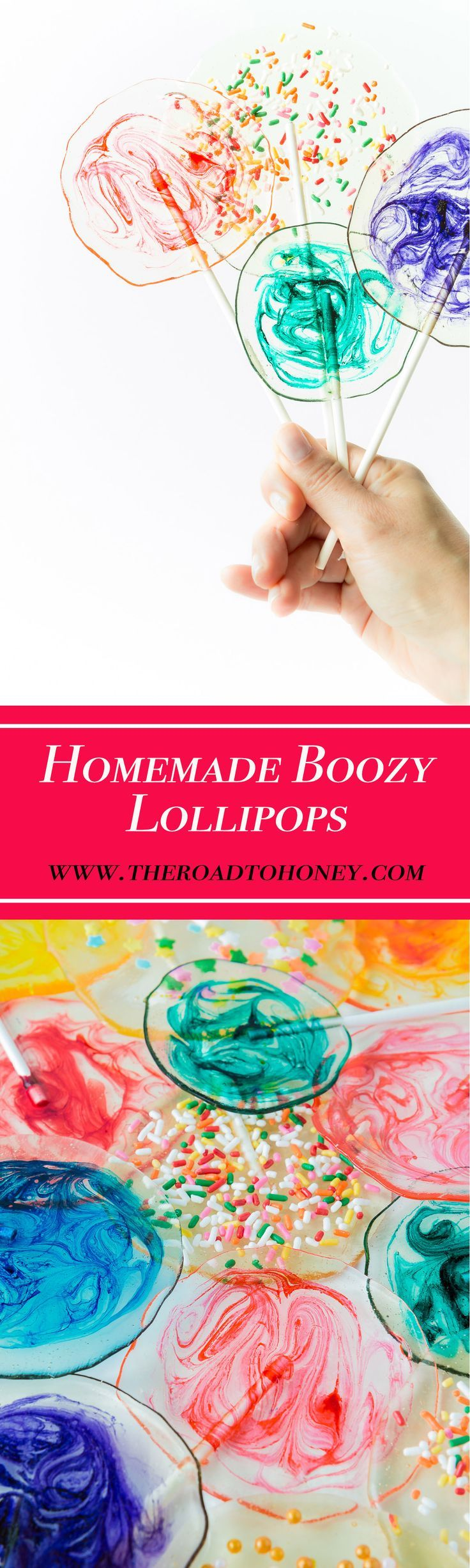 Homemade Boozy Lollipops - Making your own crystal clear candy homemade lollipops with fun & colorful swirls is quick & easy. They are easily customizable and are perfect for birthdays, weddings & other whimsical events.  Click for RECIPE. #HomemadeLollipops #HomemadeSuckers #HomemadeCandy