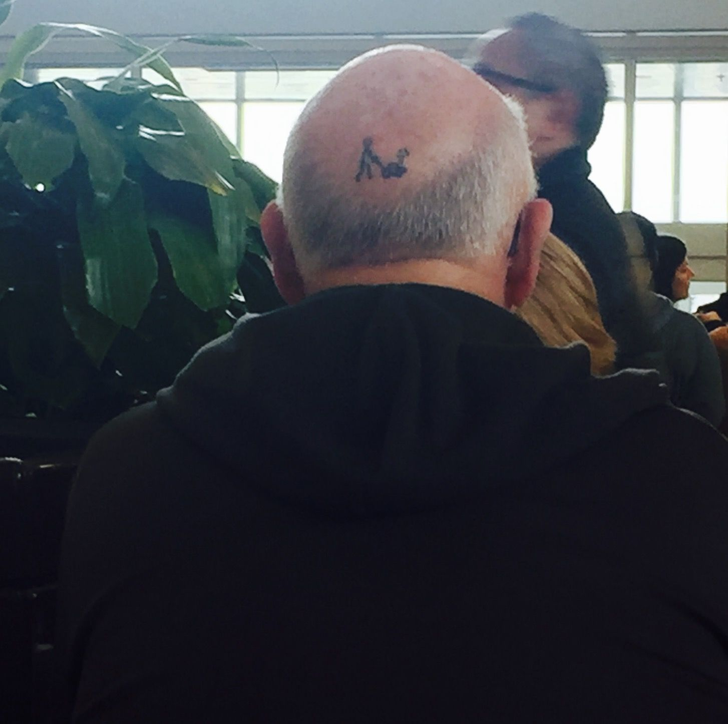 This guy has a sense of humor about balding! Its a stick man