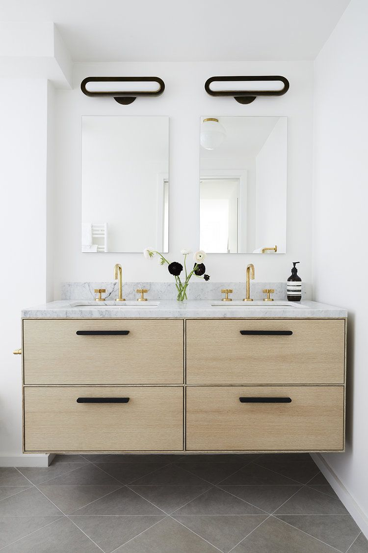 Light Wood Floating Vanity With Four Drawers Deep Drawers