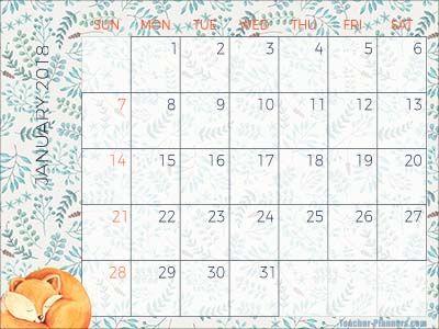 January Calendar  Free  Printable  Classroomdecor  Januar