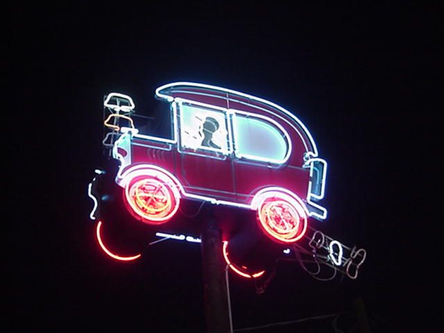 Vintage used car neon sign on Florida Ave, Tampa Florida - the little smoke and exhaust rings used to light in sequence like animation