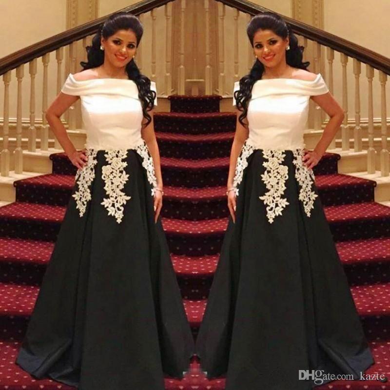 46abf63c2c9 Saudi Arabic Black White Prom Dresses Off The Shoulder Lace Appliques  Evening Gowns Satin A Line