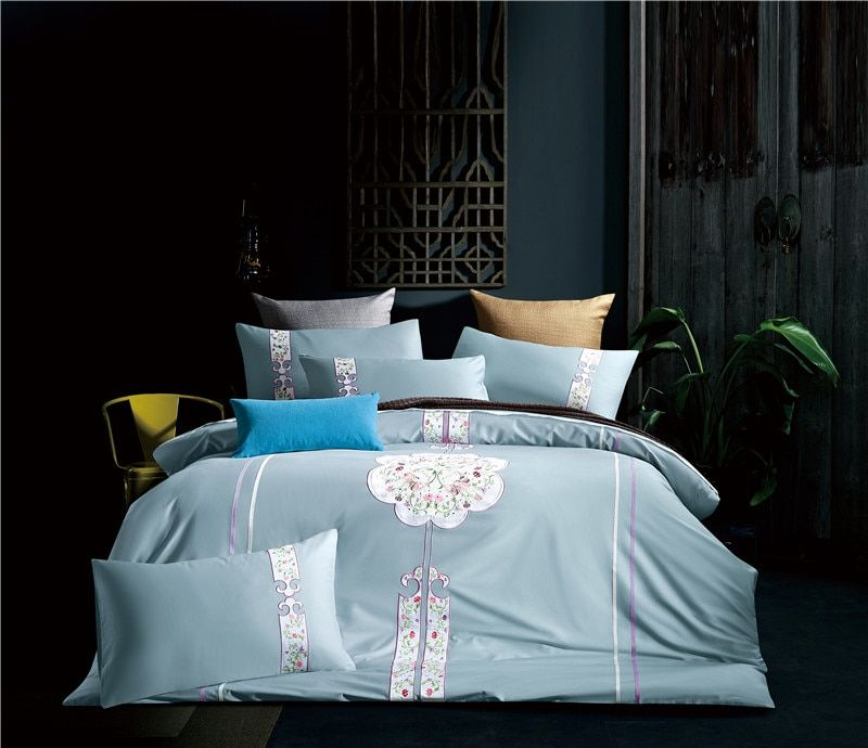 4pcs Egyptian Cotton Luxury Bedding Set Chinese Style Embroidery Bed Set King Queen Bed Linens Duvet Cover Bed Sheet Queen Bed Linen Luxury Bedding Set Duvet Bedding Sets