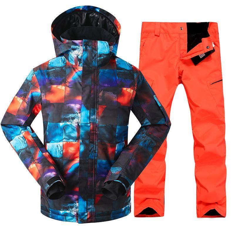 GSOU SNOW Brand Ski Suit Men Skiing Jacket Snowboarding Pants Waterproof  Mountain Skiing Suits Winter Male 8243c9b66