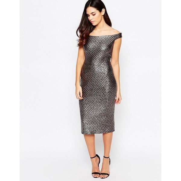 Liquorish Off Shoulder Pencil Dress in Quilted Gun Metal (3.550 RUB) ❤ liked on Polyvore featuring dresses, silver, bodycon dress, white body con dress, gunmetal dress, white metallic dress and metallic dress