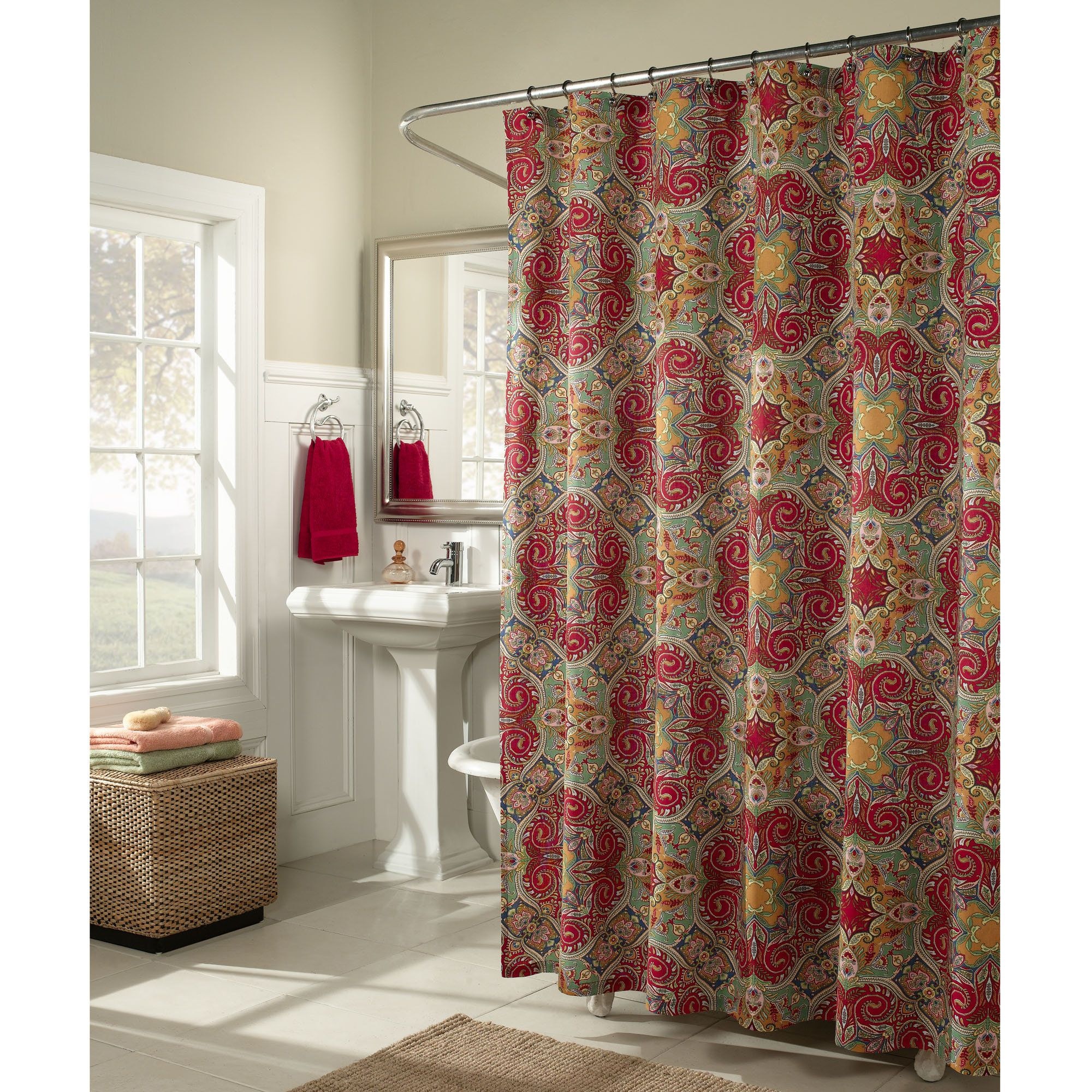 Paisley Shower Curtains Fabric Home Kashmir Fabric Shower
