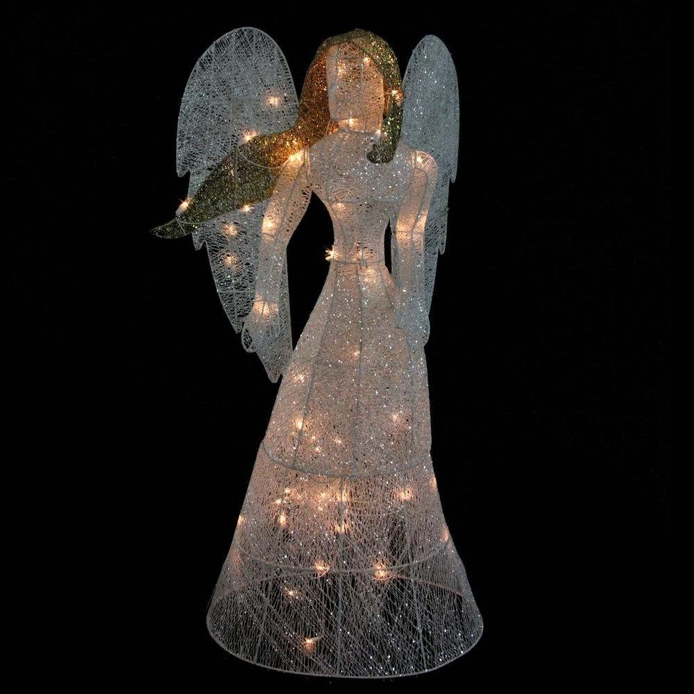 christmas outdoor yard decoration 48 led lighted white glitter angel