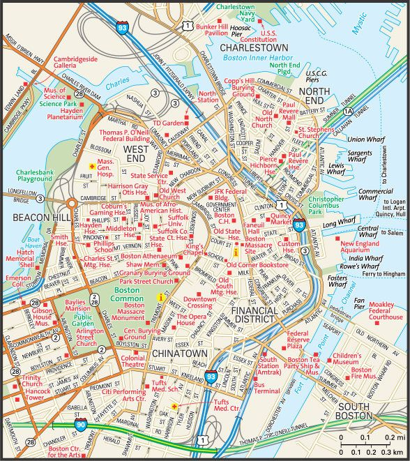 City of Boston Map Guide to Boston Massachusetts Boston