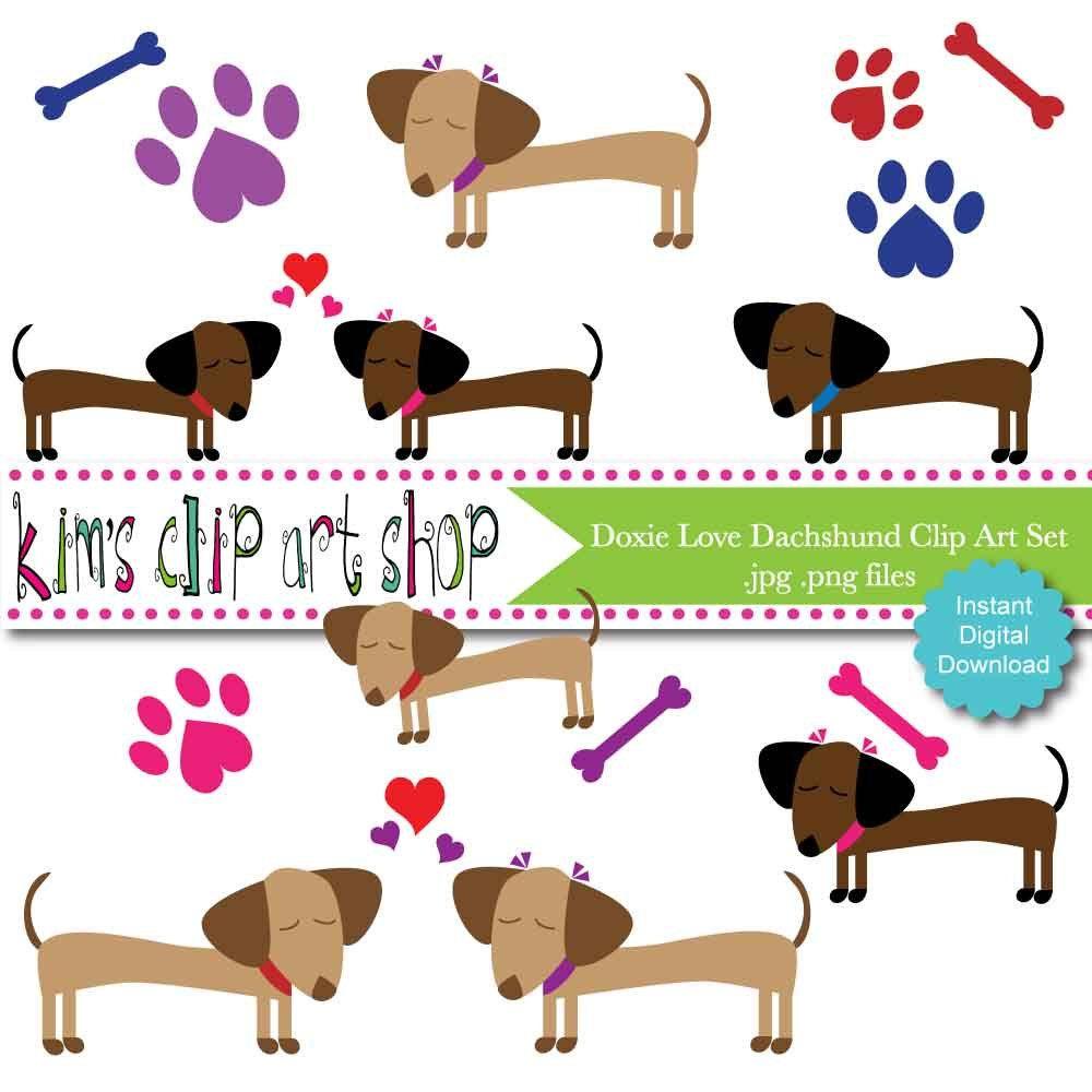 dachshund doxie love clip art set dog clip art dog clipart dachshund clip art for scrapbooking [ 1000 x 1000 Pixel ]