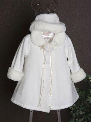 24299ec23 Fleece coat with Fur trim for flower girl in winter wedding - Infant ...