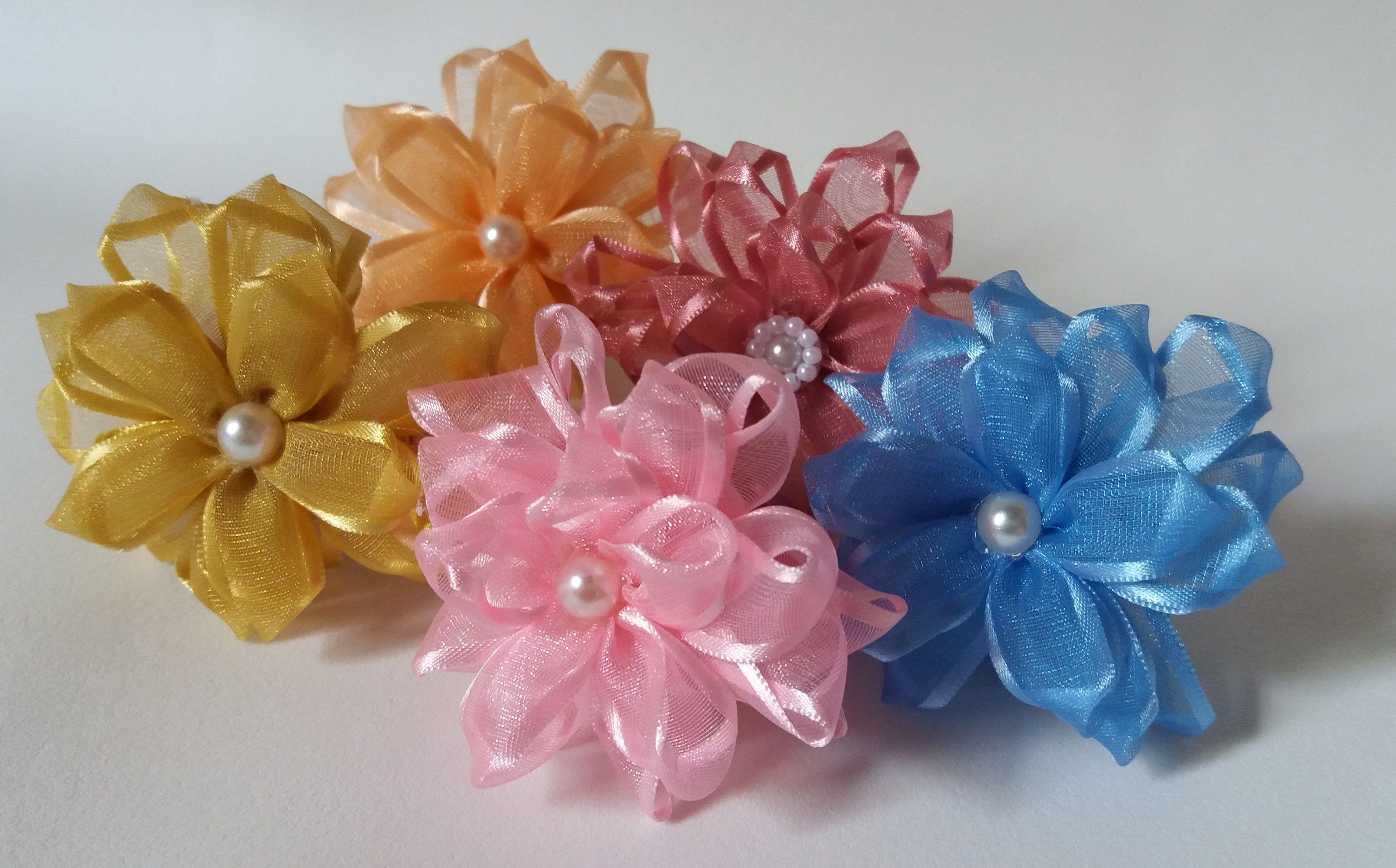 994ffa03859 Como fazer flor de fita de cetim | joutubu kwiaty ze wstążek ...