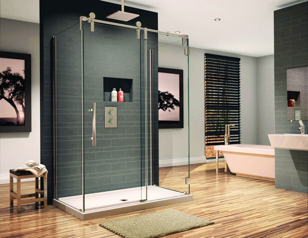 3 sided sliding glass shower enclosure with fixed panel sides | +_ ...
