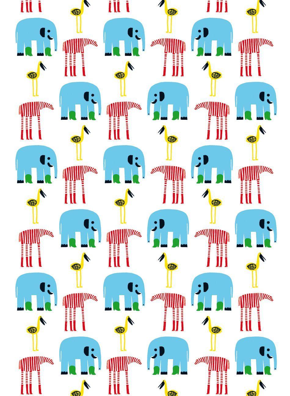 Karkumatka cotton (white,multicolor) |Fabrics, Cottons | Marimekko