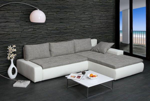 Eckcouch grau weiß  Design Ecksofa SHAPE weiss Strukturstoff grau | Interior-Design ...