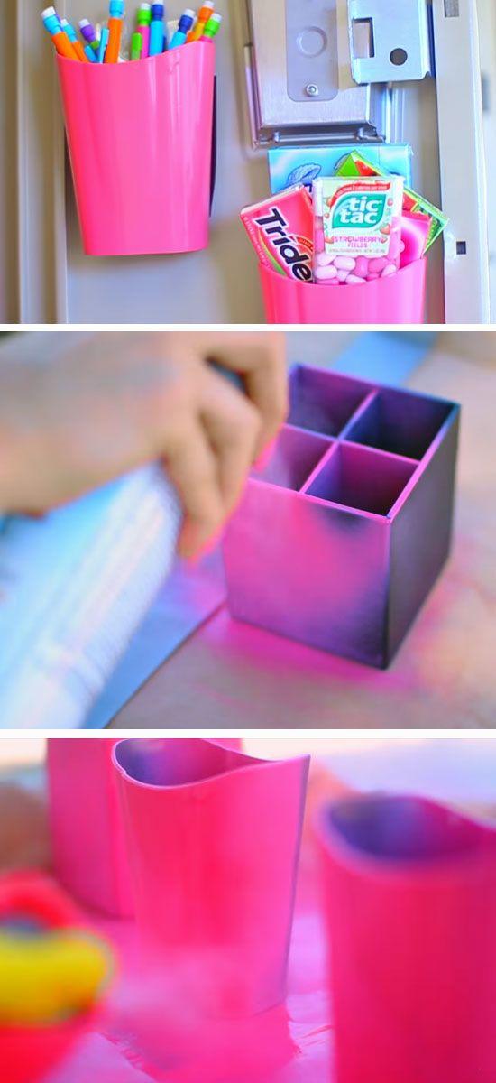 Make Magnetized Holders | 15 DIY Locker Organization for School Girls