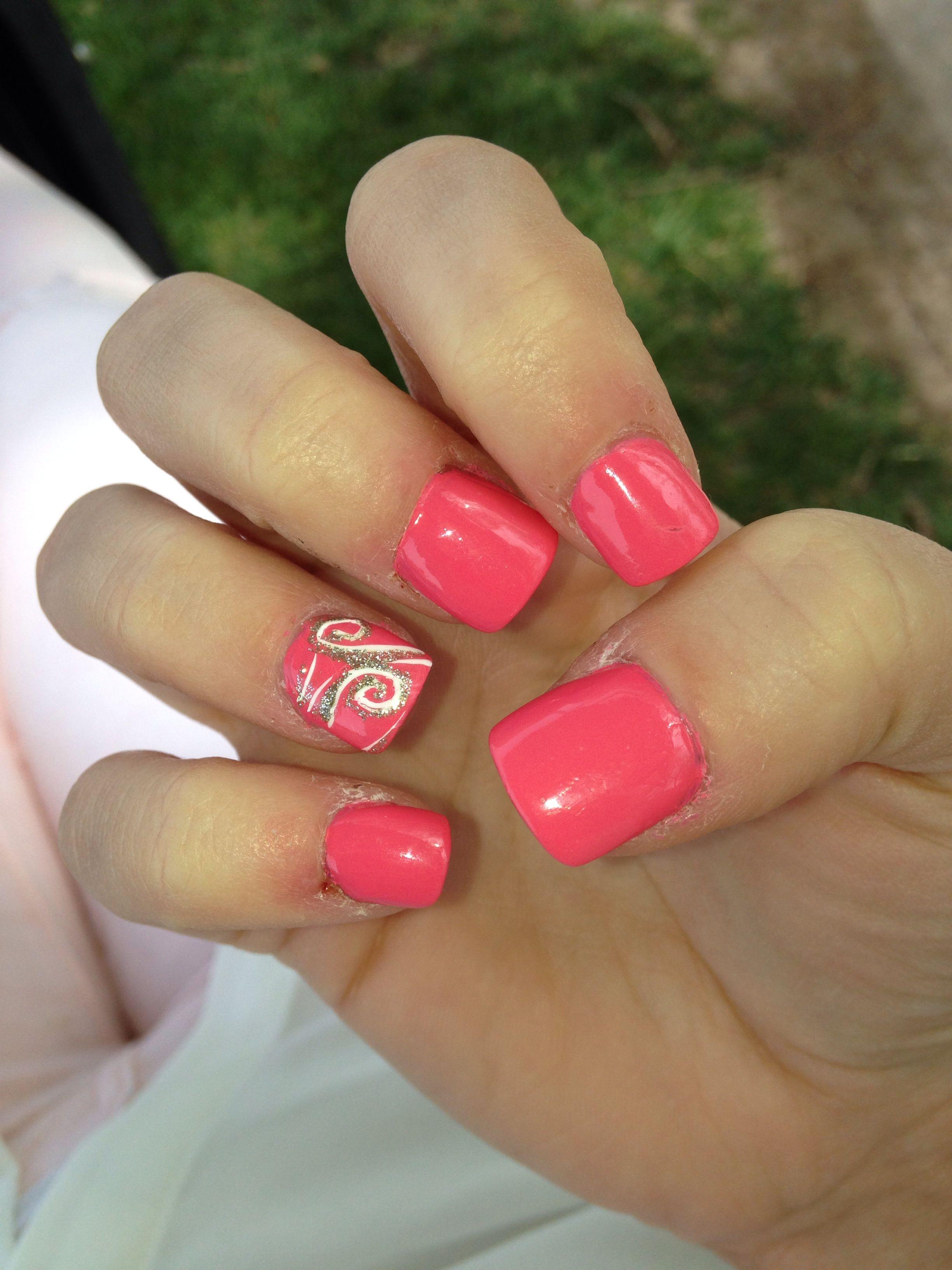 Pink nails! I love them!! Don't mind my bad cuticles. #pink #nails #glitter