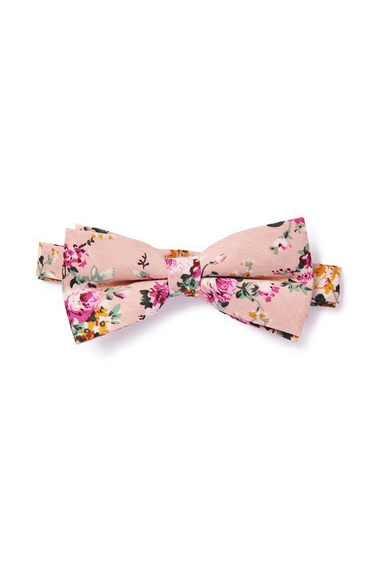 e5f066444424 Floral Print Men's Bow Tie - Polyester/Cotton Fabric - Rose Pink with  Magenta Flower Print - Pre-Tied Bow ...