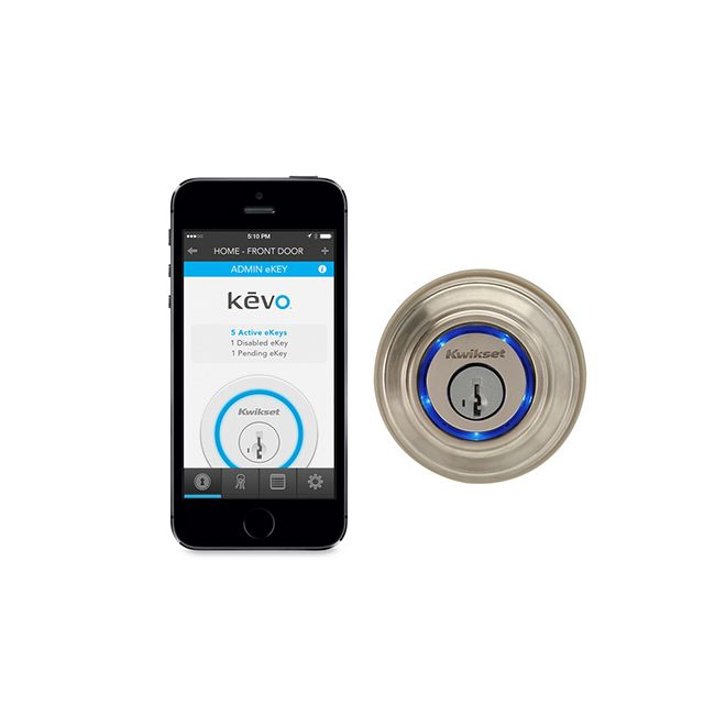 Kwikset's Kevo Bluetooth-enabled deadbolt lock lets you unlock your door wirelessly with your iPhone, iPad, or iPod touch and the Kevo app