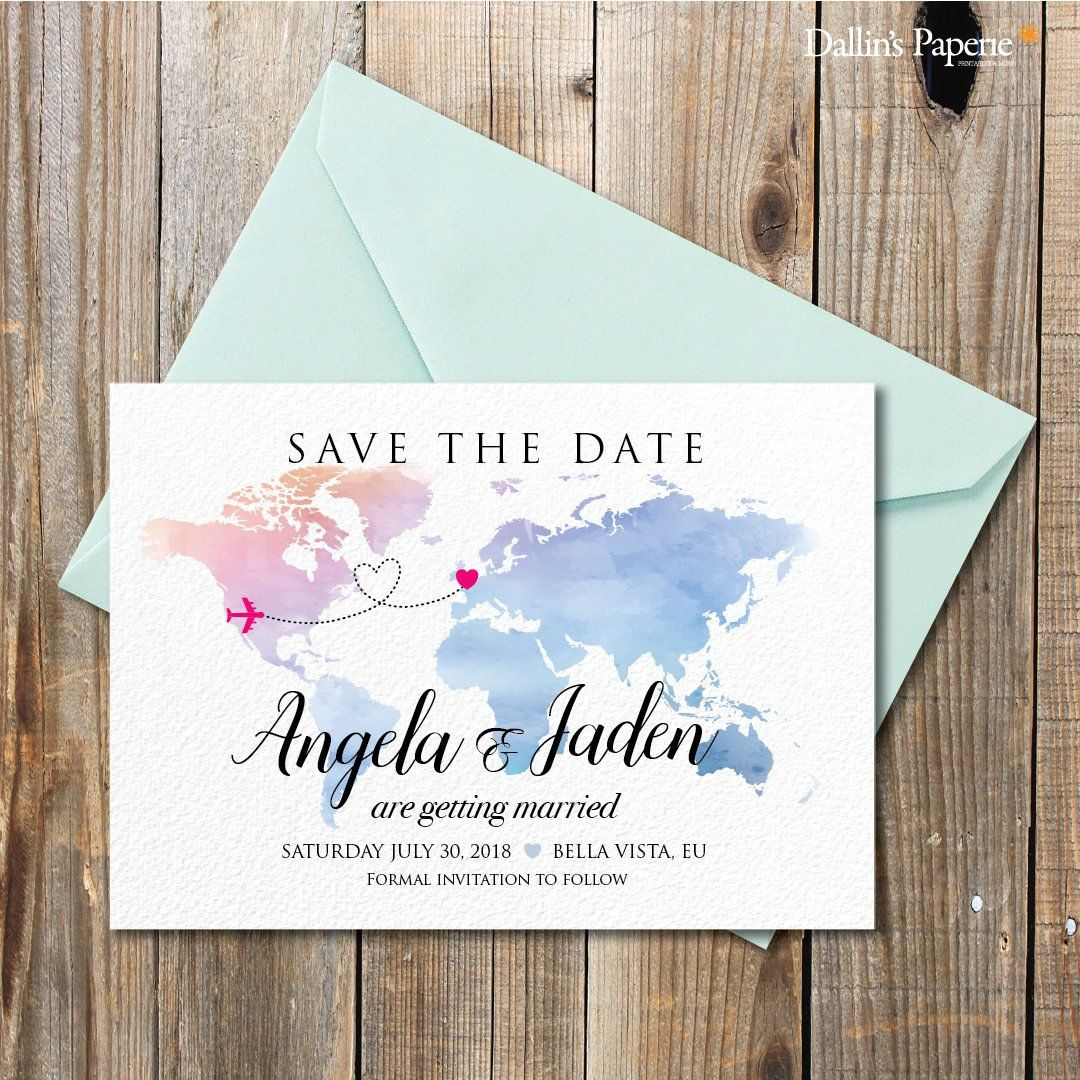 Watercolor Wedding Invitation Destination Wedding Invitation