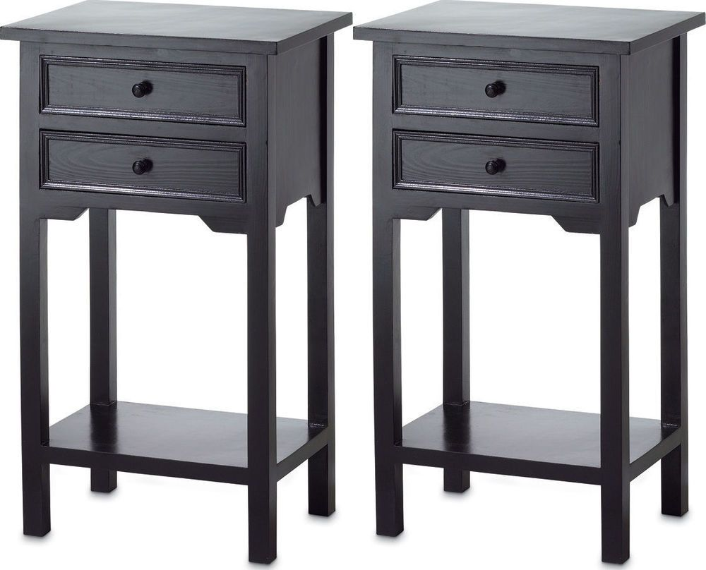 2 Small Black End Side Bedside Table Bedroom Nightstand Drawer Shelf 27 Tall Contemporary
