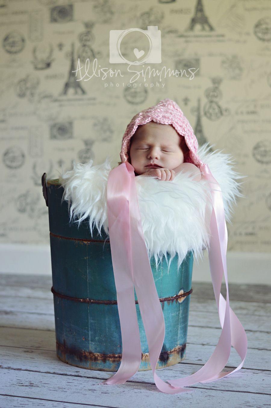 Newborn photography, crochet pixie hat, ribbon, Paris backdrop, newborn in bucket, antique ice cream make, newborn pose, baby, newborn girl, ideas, natural light photography, ASP, Allison Simmons Photography