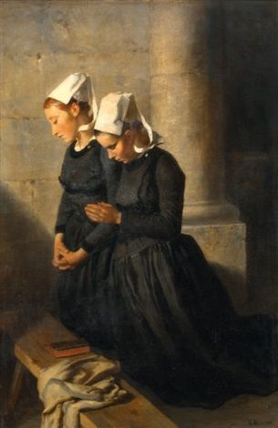 """Victor Marie Roussin (1812-1903) ~  """"Bretonnes en prière"""""""