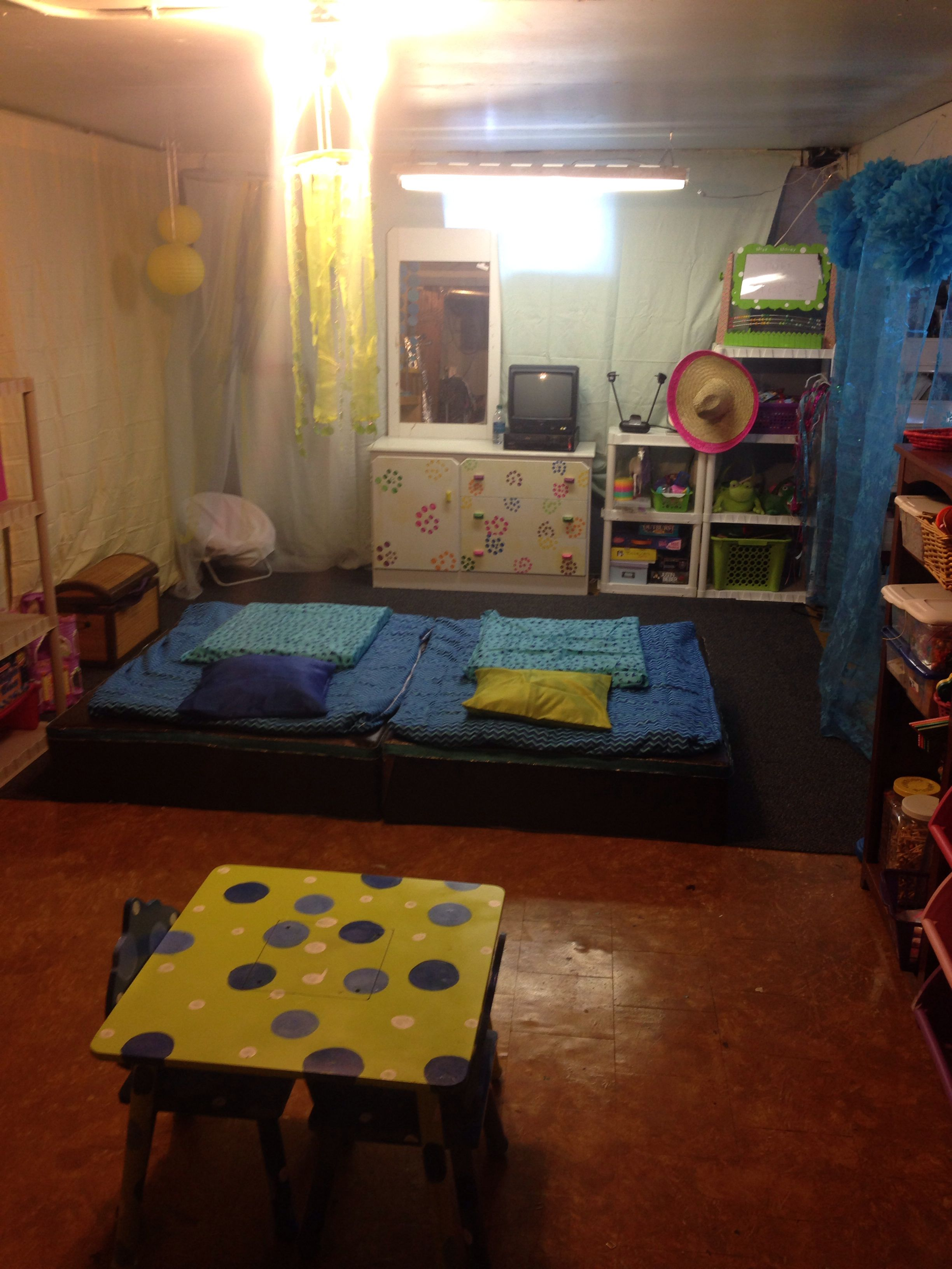 Unfinished basement turned playroom on a budget   Things i've done   Pinterest   Basements. Playrooms and Budgeting