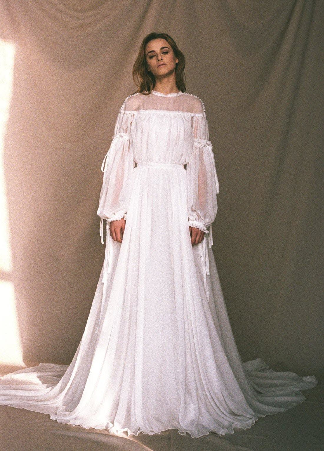 14 Affordable Statement Sleeve Wedding Dresses For The 2019 Bride Nontraditional Wedding Dress Sleeve Wedding Dress Wedding Dress Brands