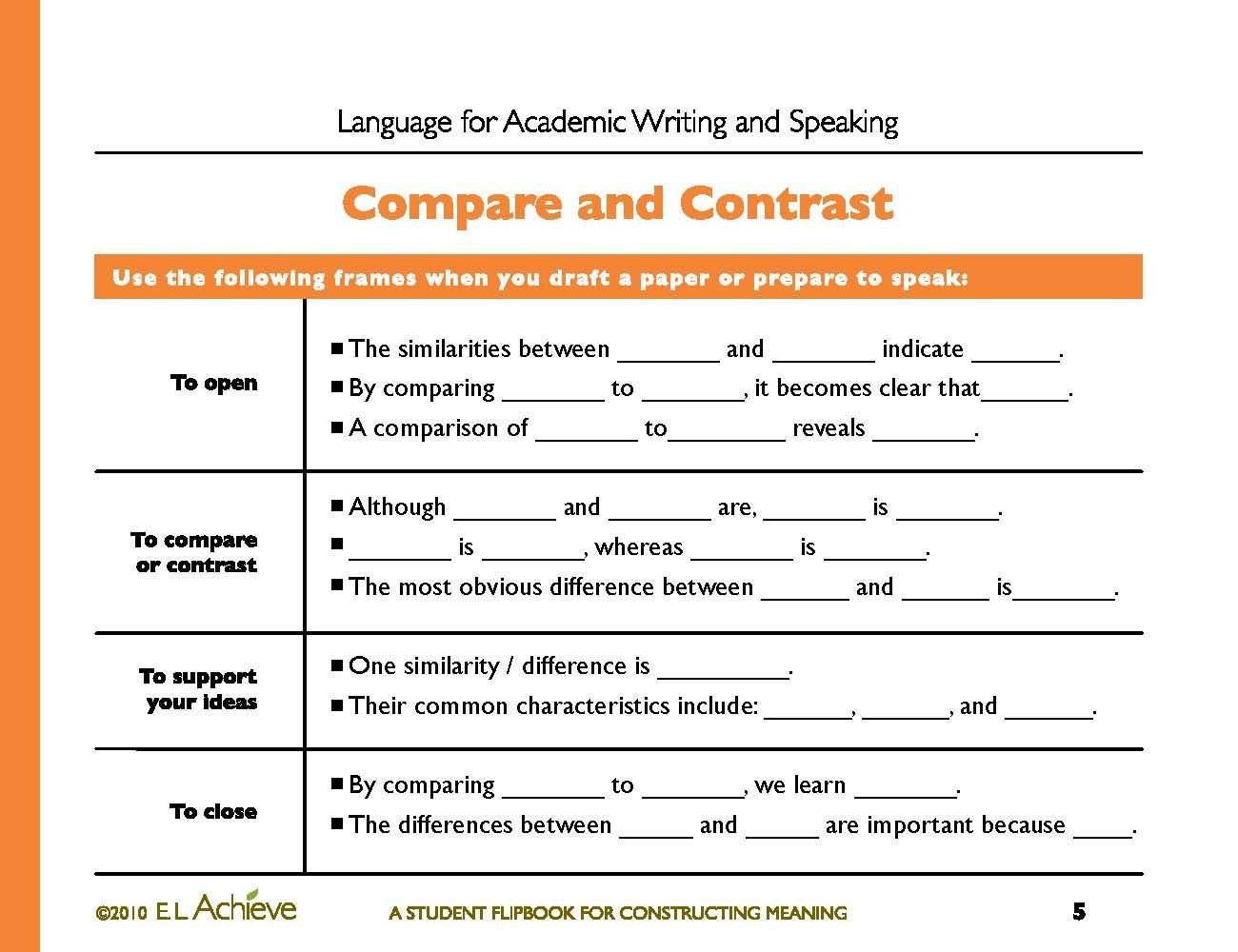 Compare And Contrast Essay Outline Worksheet