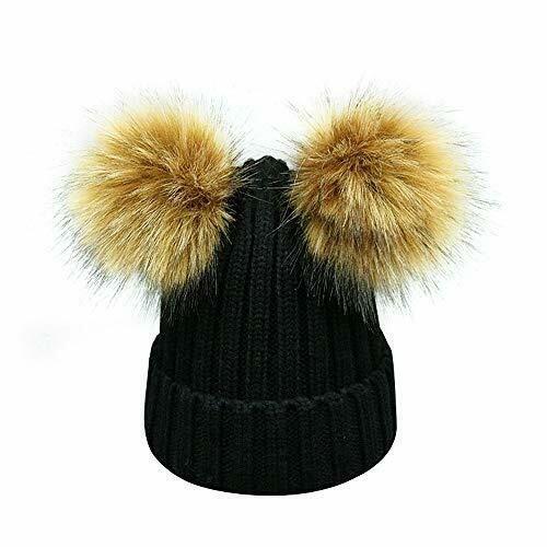 ab50fccb24e0 Kids Faux Raccoon Fur Ball Pompom Ears Winter Bobble Hat Knitted Double Pom  Cap  Lvaiz