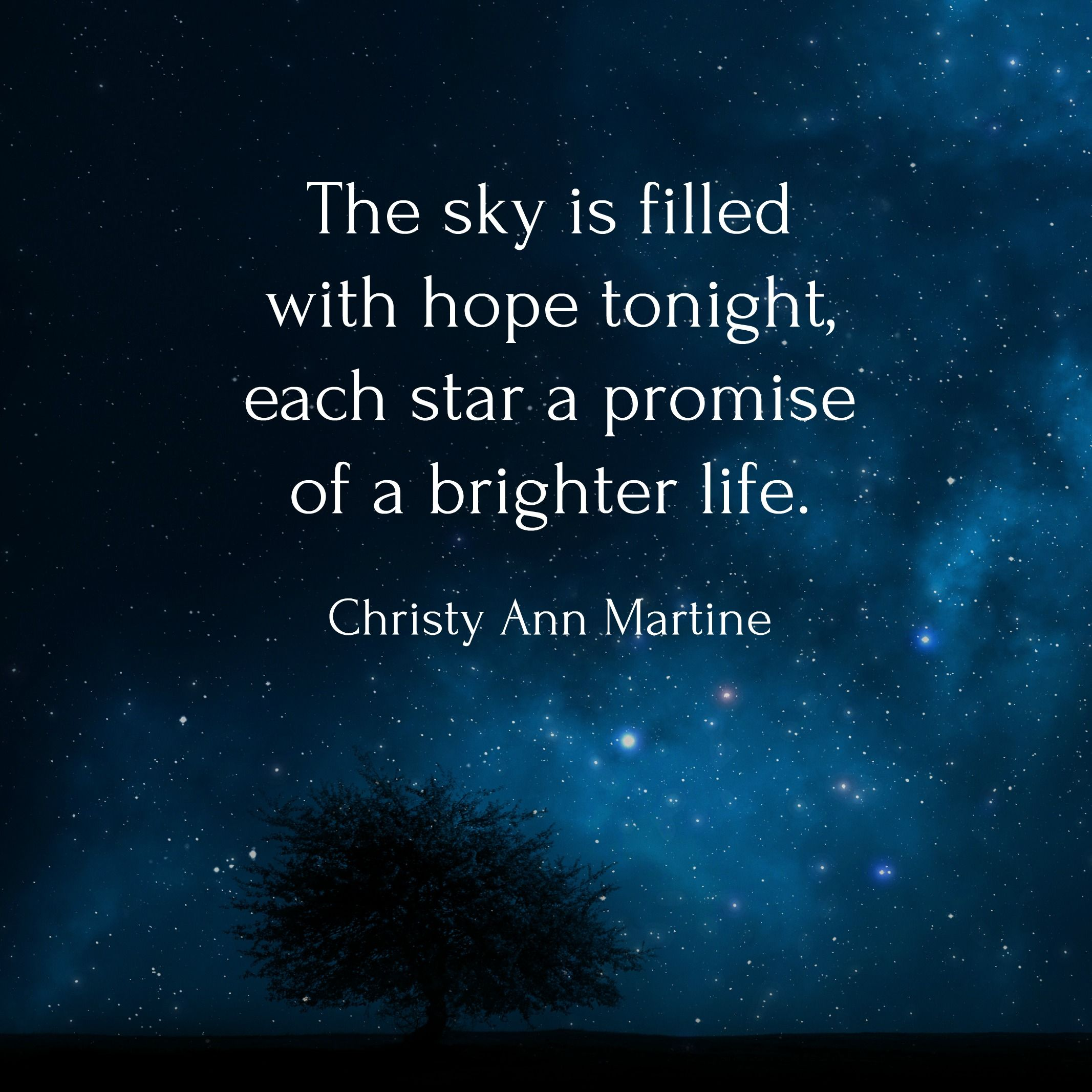 The Sky Is Filled With Hope Tonight Each Star A Promise Of A Brighter Life Christy Ann Martine Hope Quotes Nature Lover Quotes Star Quotes Hope Quotes