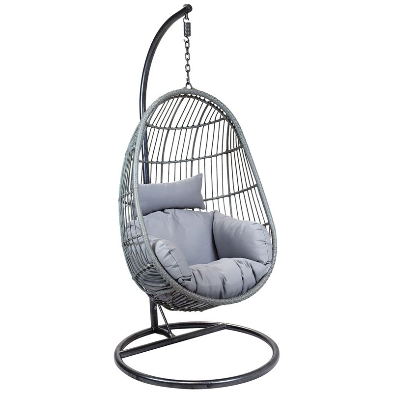 Charles Bentley Rattan Egg Shaped Hanging Chair With Cushions