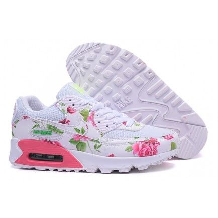 Nike Air Max 90 Floral Print Womens Rose Green Pink White
